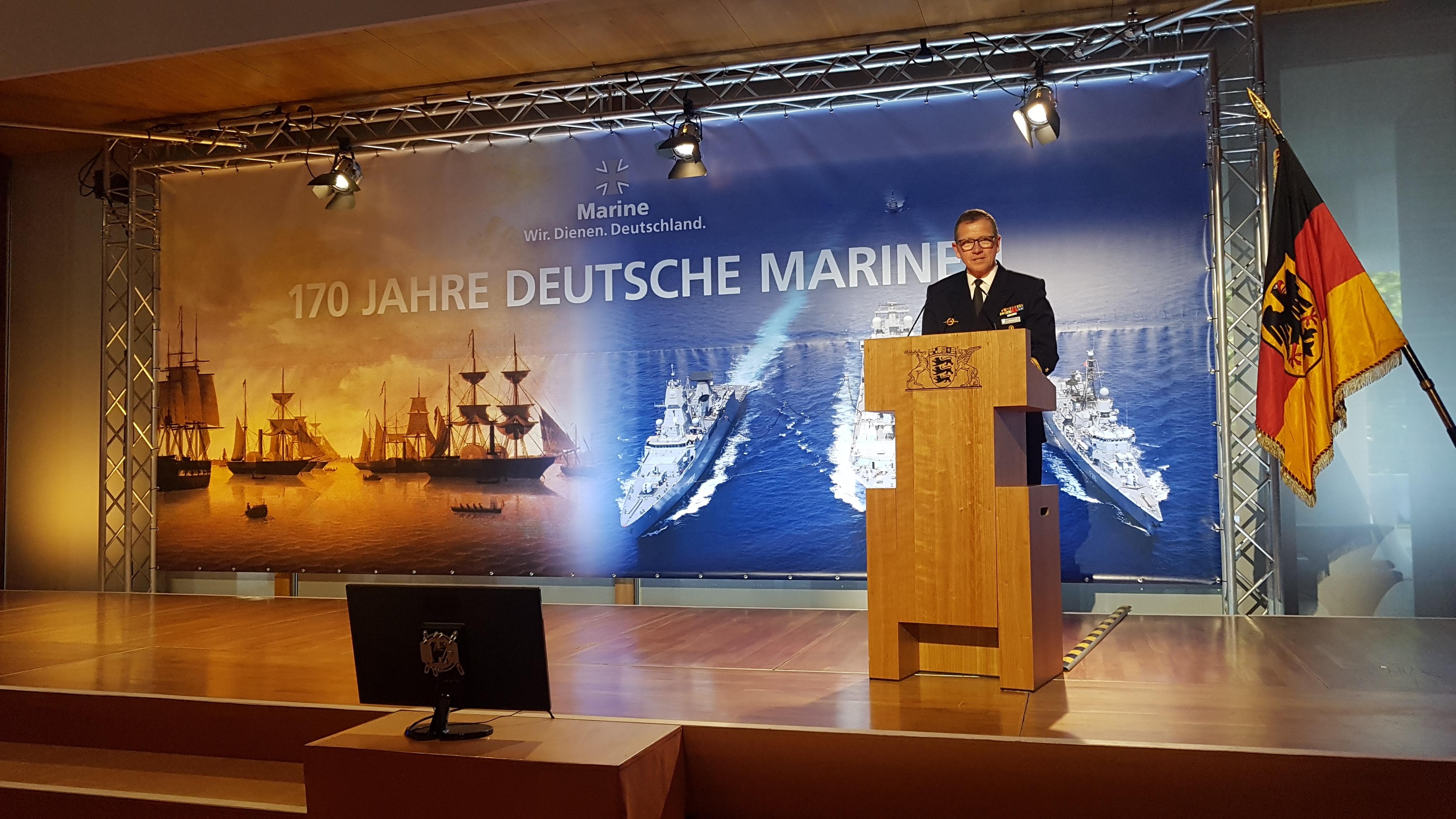 Der Inspekteur der Marine, Vizeadmiral Andreas Krause, auf dem 2. Parlamentarischen Abend der Deutschen Marine am 14.06.2018 in Berlin. Foto: May-Barg.
