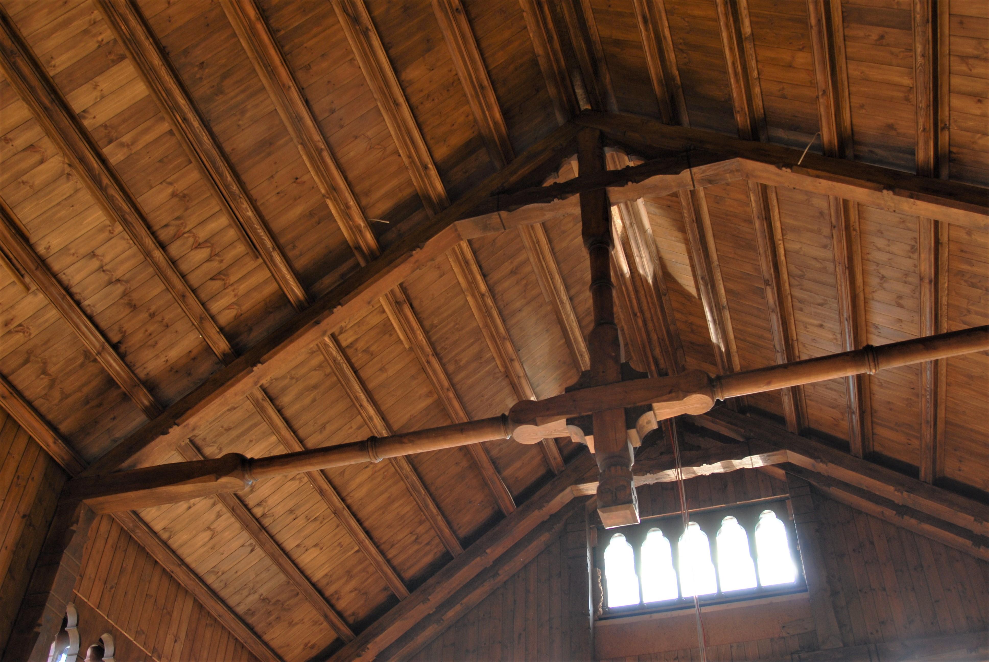 Blick in die Dachkonstruktion der wiederaufgebauten Ventehalle der Kaiserlichen Matrosenstation, aufgenommen am 04. Sep. 2017. Foto: May-Barg.